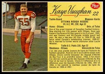 Kaye Vaughan 1963 Post CFL football card