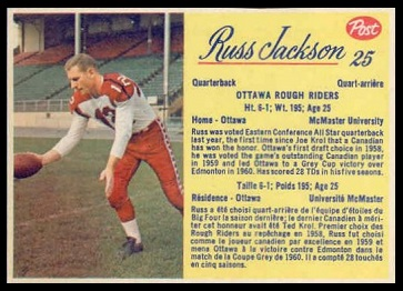 Russ Jackson 1963 Post CFL football card