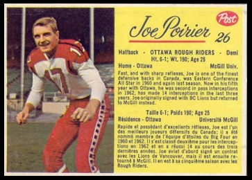Joe Poirier 1963 Post CFL football card