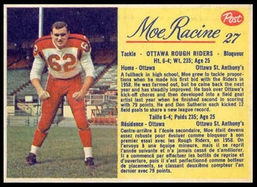 Moe Racine 1963 Post CFL football card