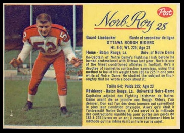 Norb Roy 1963 Post CFL football card