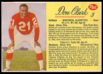 Don Clark 1963 Post CFL football card