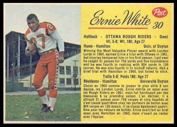 Ernie White 1963 Post CFL football card