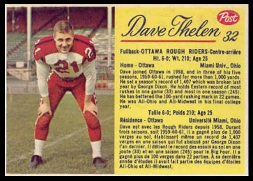 Dave Thelen 1963 Post CFL football card