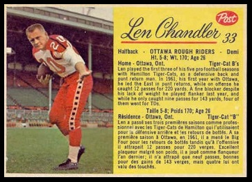 Len Chandler 1963 Post CFL football card