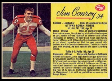 Jim Conroy 1963 Post CFL football card
