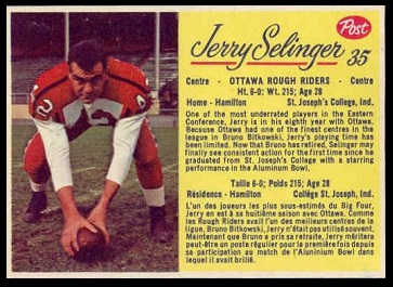 Jerry Selinger 1963 Post CFL football card