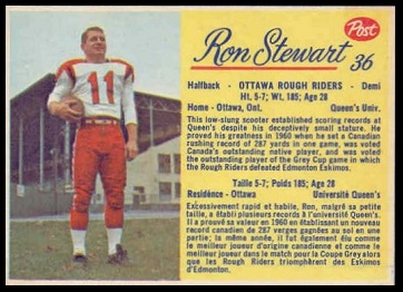 Ron Stewart 1963 Post CFL football card