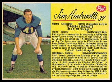 Jim Andreotti 1963 Post CFL football card