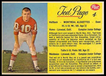 Ted Page 1963 Post CFL football card