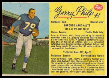 Gerry Philp 1963 Post CFL football card
