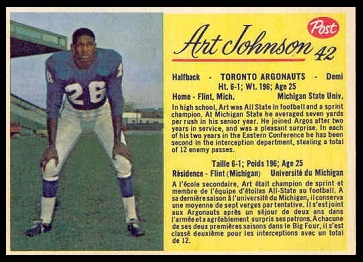 Art Johnson 1963 Post CFL football card