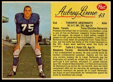Aubrey Linne 1963 Post CFL football card