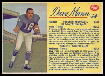 Dave Mann 1963 Post CFL football card