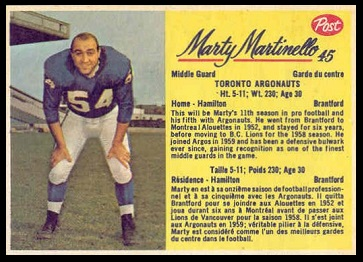 Marty Martinello 1963 Post CFL football card