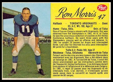 Ron Morris 1963 Post CFL football card