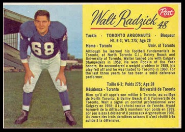 Walt Radzick 1963 Post CFL football card