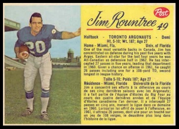 Jim Rountree 1963 Post CFL football card