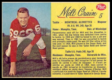 Milt Crain 1963 Post CFL football card