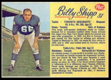 Billy Shipp 1963 Post CFL football card