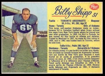 Billy Shipp 1963 Post CFL football card
