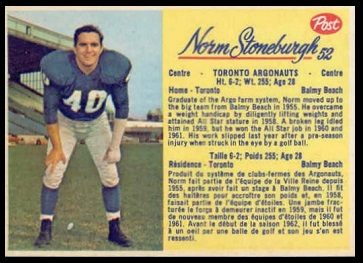 Norm Stoneburgh 1963 Post CFL football card