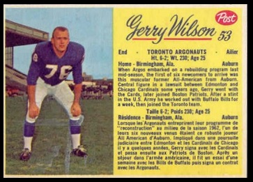 Jerry Wilson 1963 Post CFL football card