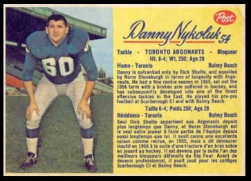 Danny Nykoluk 1963 Post CFL football card