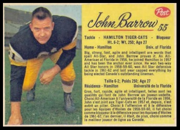 John Barrow 1963 Post CFL football card