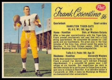 Frank Cosentino 1963 Post CFL football card