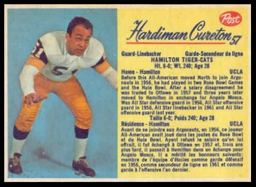 Hardiman Cureton 1963 Post CFL football card
