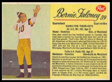 Bernie Faloney 1963 Post CFL football card