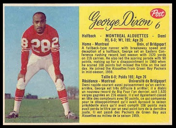 George Dixon 1963 Post CFL football card