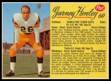 Garney Henley 1963 Post CFL football card