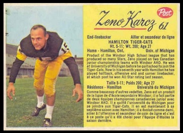 Zeno Karcz 1963 Post CFL football card