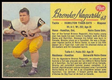 Bronko Nagurski Jr. 1963 Post CFL football card