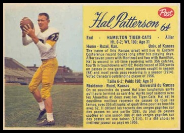 Hal Patterson 1963 Post CFL football card