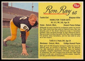 Ron Ray 1963 Post CFL football card