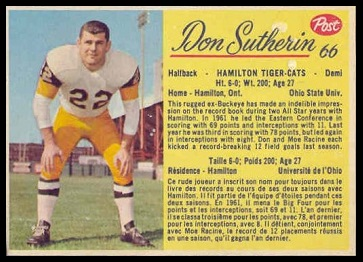 Don Sutherin 1963 Post CFL football card