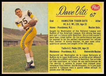 Dave Viti 1963 Post CFL football card