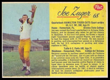 Joe Zuger 1963 Post CFL football card