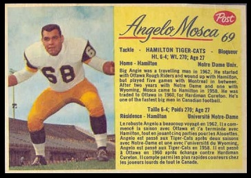 Angelo Mosca 1963 Post CFL football card