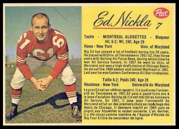 Ed Nickla 1963 Post CFL football card
