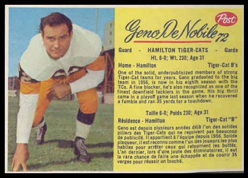 Geno DeNobile 1963 Post CFL football card