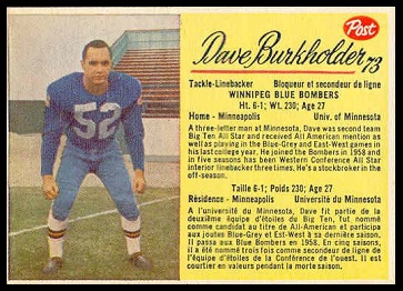Dave Burkholder 1963 Post CFL football card