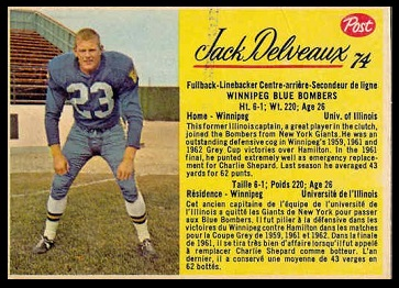 Jack Delveaux 1963 Post CFL football card