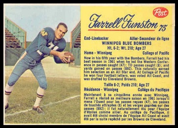 Farrell Funston 1963 Post CFL football card