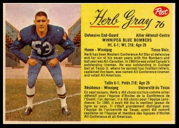 Herb Gray 1963 Post CFL football card