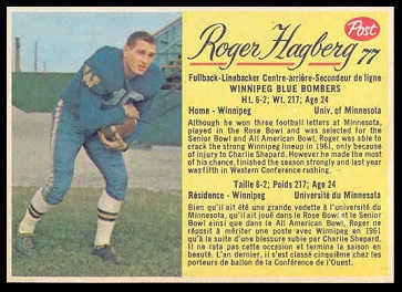 Roger Hagberg 1963 Post CFL football card