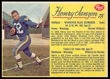 Henry Janzen 1963 Post CFL football card